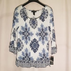 Nwt INC blue tile print top stretch blouse top